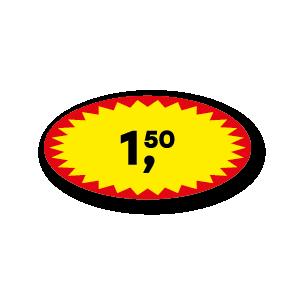 Actie prijsstickers rood-geel-zwart 40x20mm