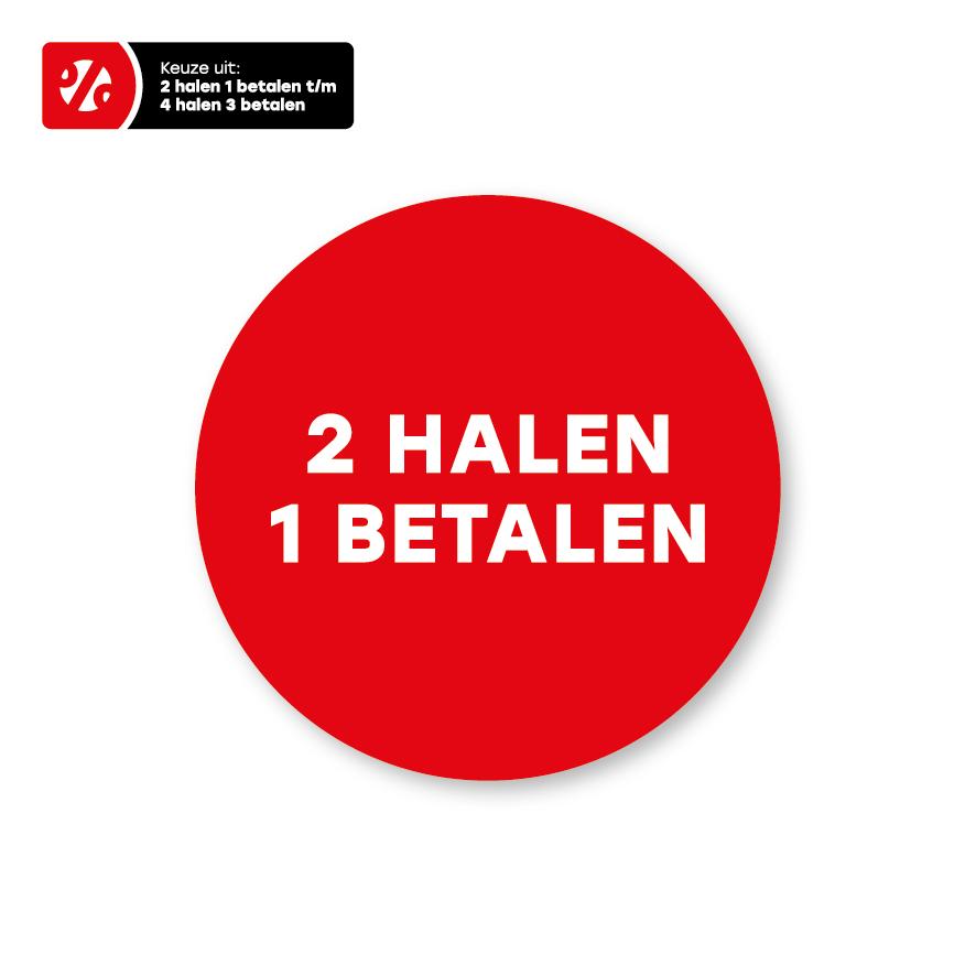 Halen/Betalen stickers rood-wit rond 30mm