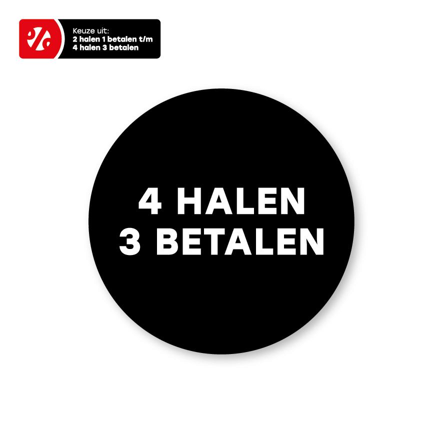 Halen/Betalen stickers zwart-wit rond 30mm