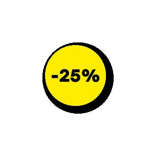 Kortingsstickers geel-zwart rond 15mm