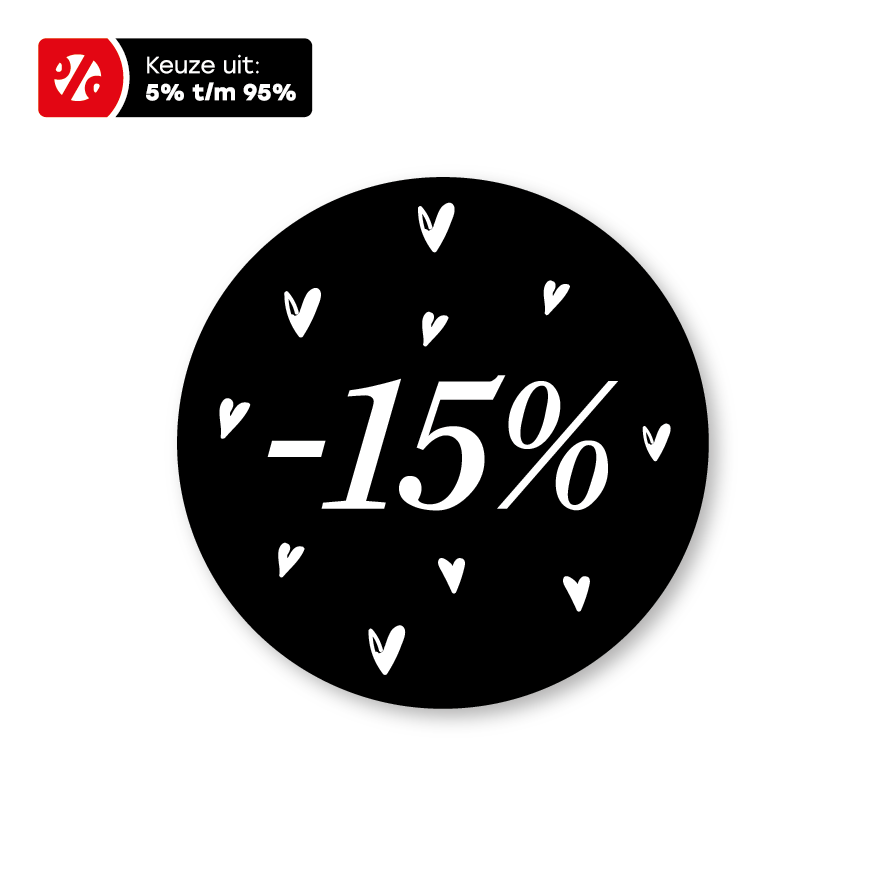 Kortingsstickers hartjes zwart-wit rond 30mm