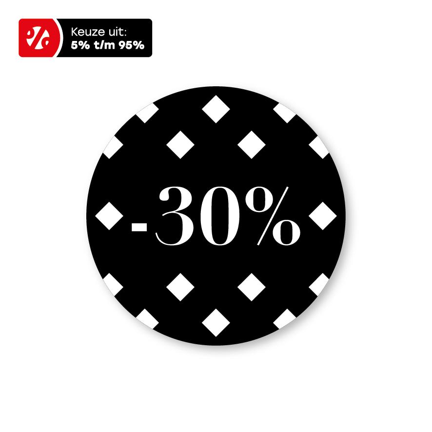 Kortingsstickers ruiten zwart-wit rond 30mm