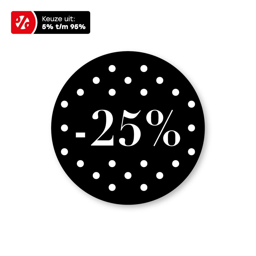 Kortingsstickers stippen zwart-wit rond 30mm