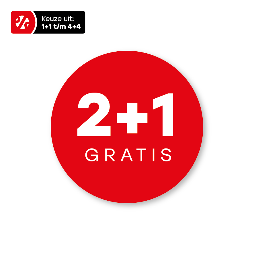 Plus stickers rood-wit rond 30mm