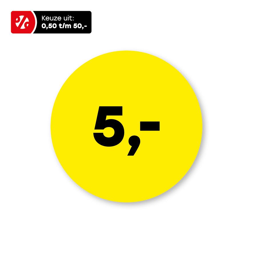 Prijsstickers geel-zwart rond 15mm
