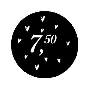 Prijsstickers hartjes zwart-wit 30mm