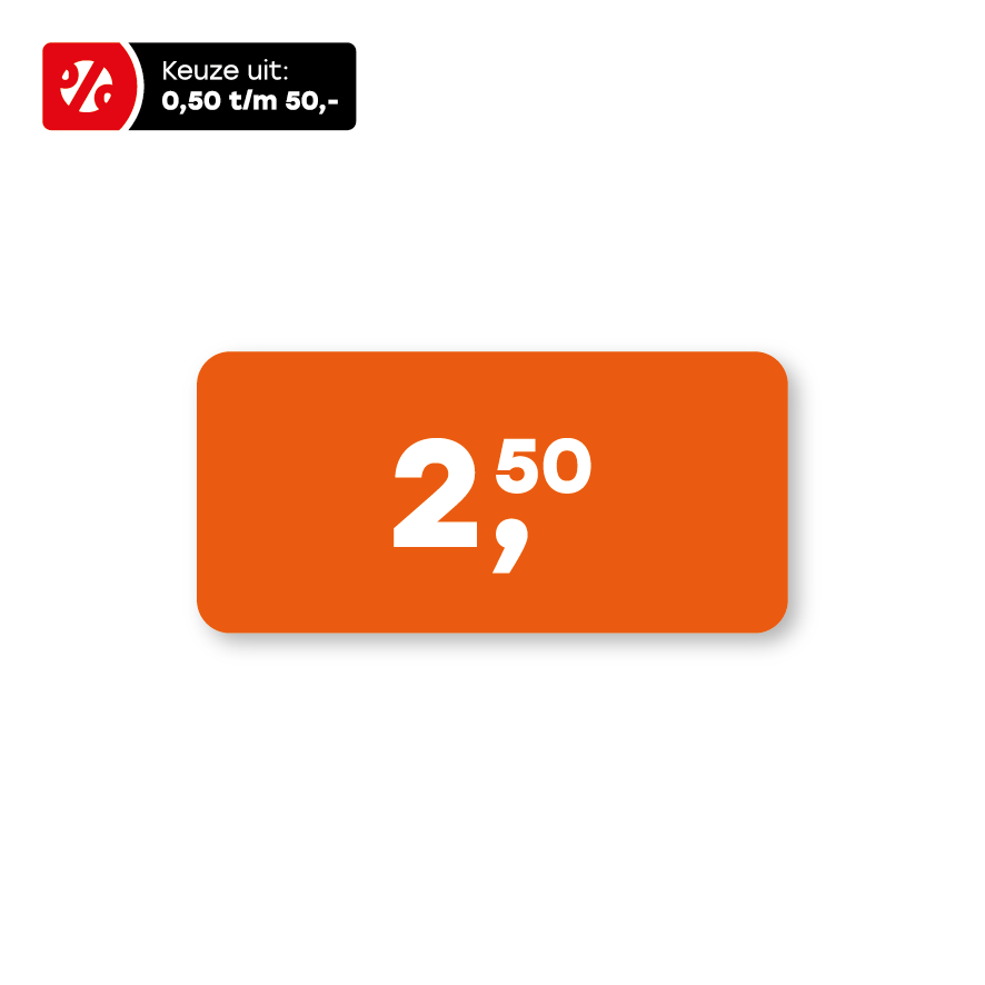 Prijsstickers oranje-wit rechthoek 36x17mm