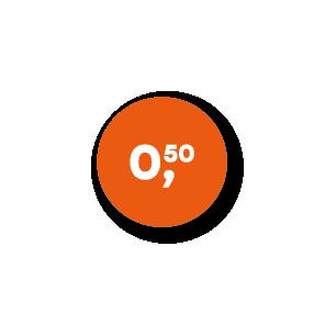Prijsstickers oranje-wit rond 15mm