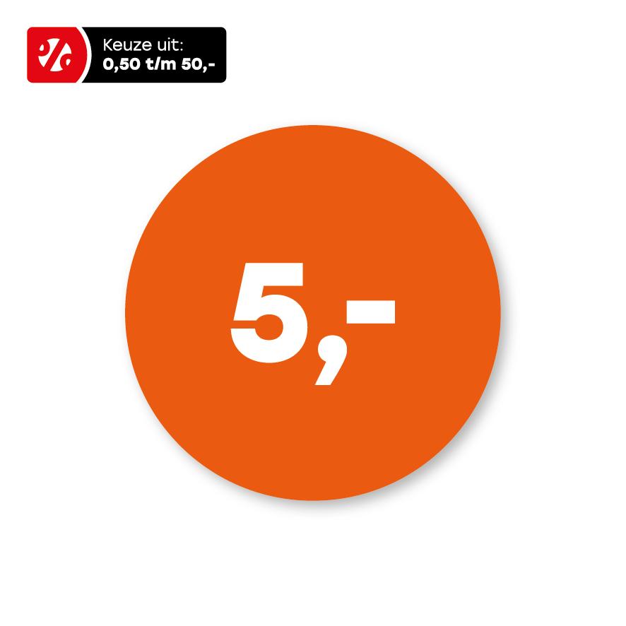 Prijsstickers oranje-wit rond 30mm