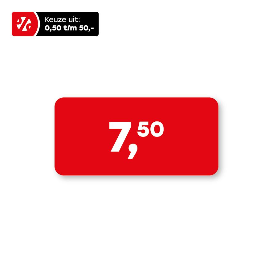 Prijsstickers rood-wit 36x17mm rechthoek