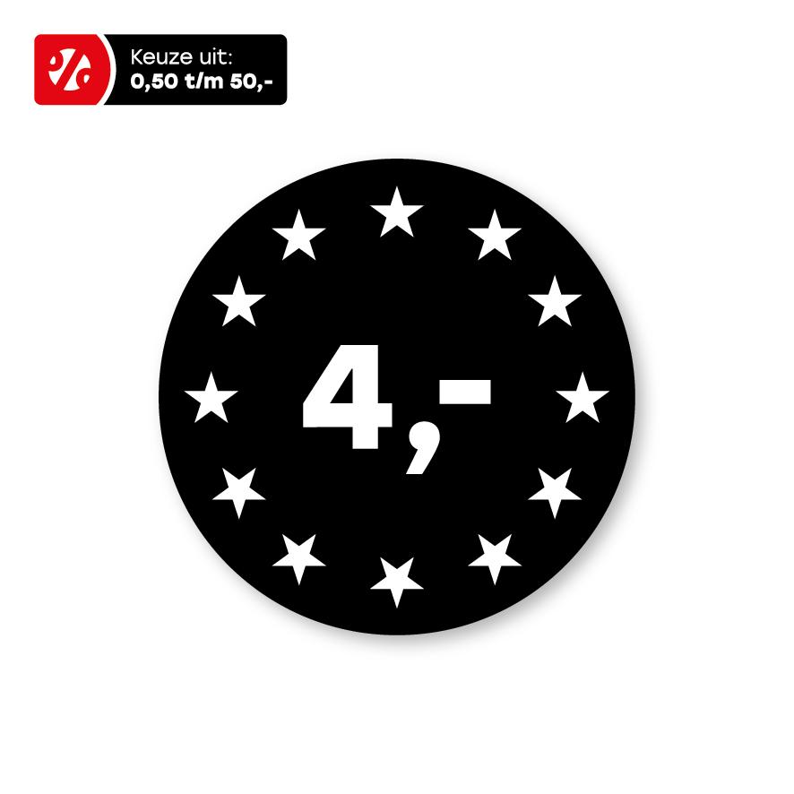 Prijsstickers sterren zwart-wit 30mm