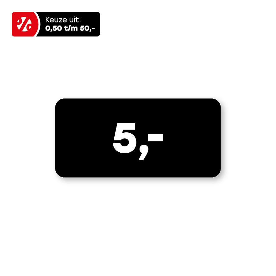Prijsstickers zwart-wit rechthoek 36x17mm