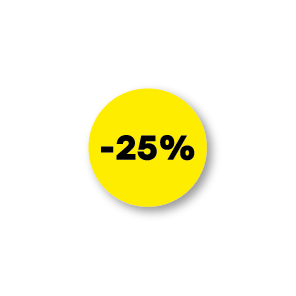 Bril kortingsstickers geel-zwart rond 15mm