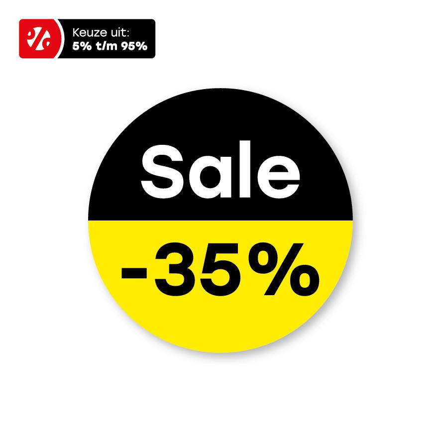 Bril kortingsstickers 'Sale' geel-zwart-wit rond 15mm