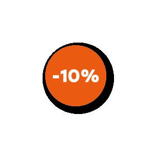 Bril kortingsstickers oranje-wit rond 15mm