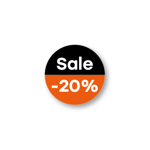 Bril kortingsstickers 'Sale' oranje-zwart-wit rond 15mm