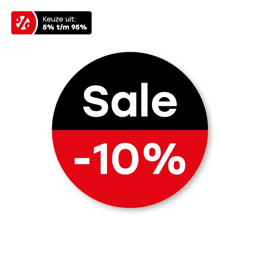 Bril kortingsstickers 'Sale' rood-zwart-wit rond 15mm