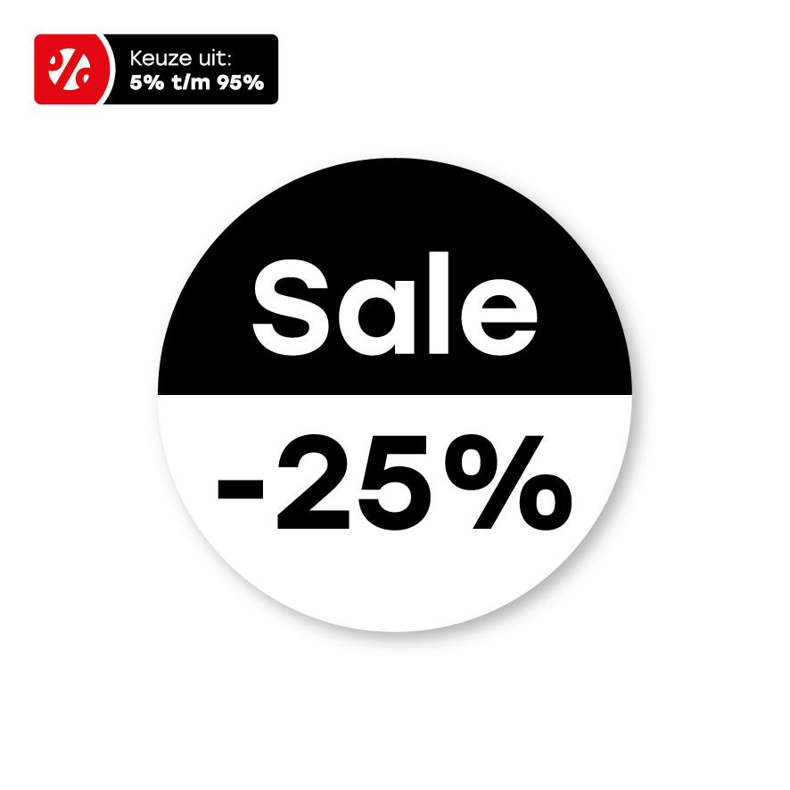 Bril kortingsstickers 'Sale' wit-zwart rond 15mm
