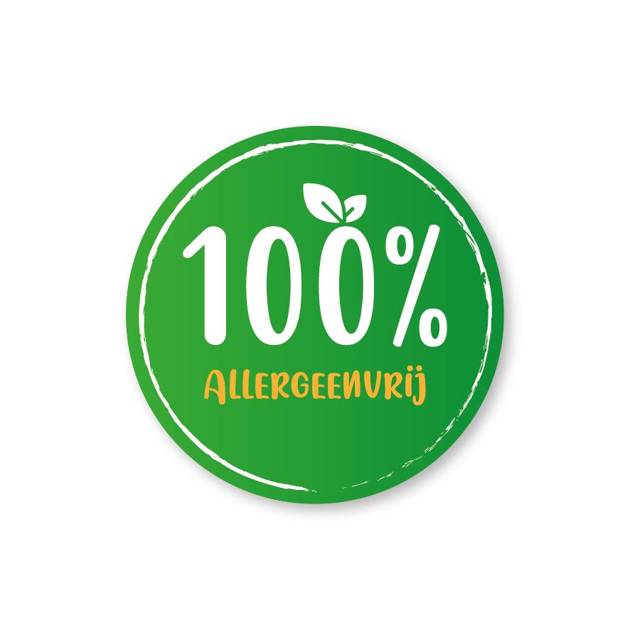 Stickers '100% Allergeenvrij' donkergroen-lichtoranje-wit 30mm