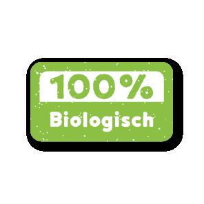 Stickers '100% Biologisch' lichtgroen-wit rechthoek 38x21mm