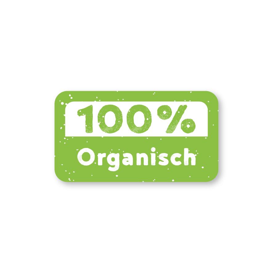 Stickers '100% Organisch' lichtgroen-wit rechthoek 38x21mm