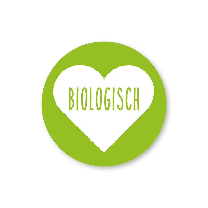 Stickers 'Biologisch' hartje lichtgroen-wit rond 30mm