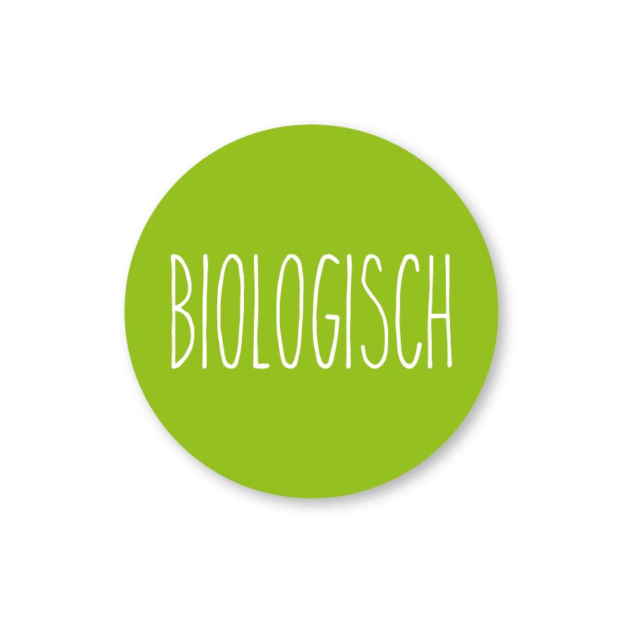 Stickers 'Biologisch' lichtgroen-wit rond 30mm