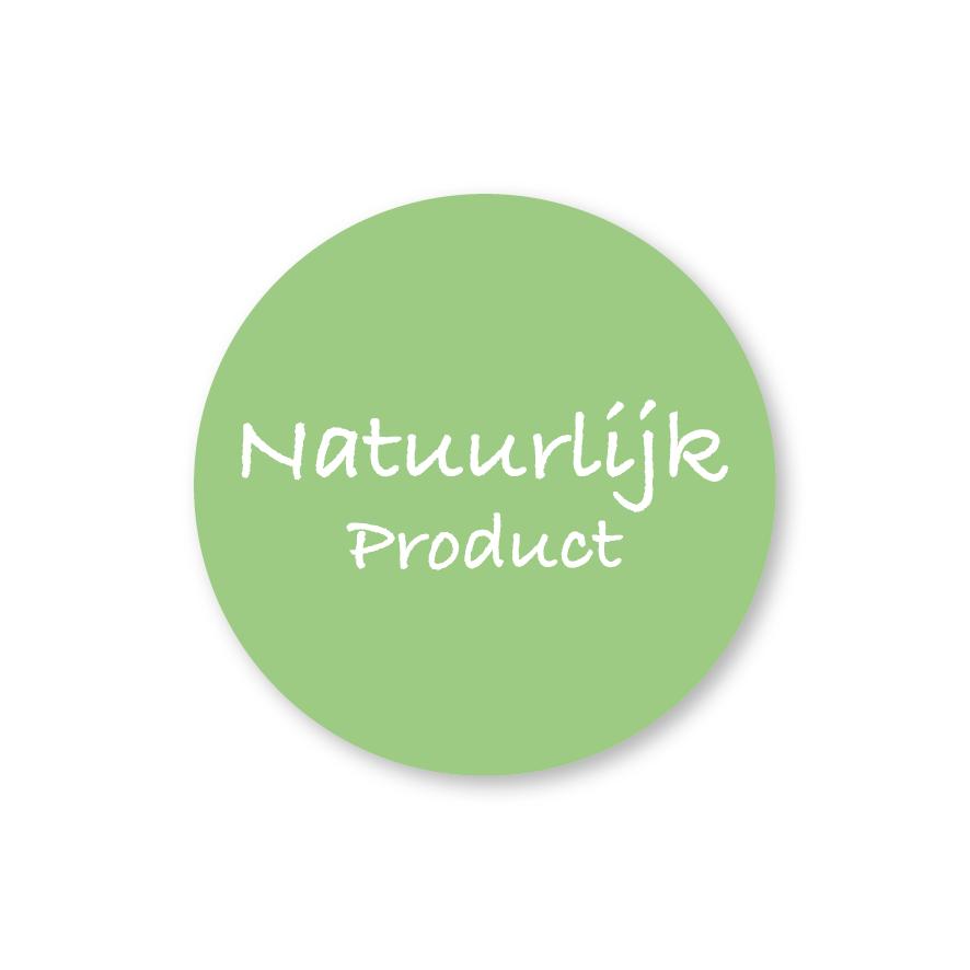 Stickers 'Natuurlijk Product' lichtgroen-wit rond 30mm