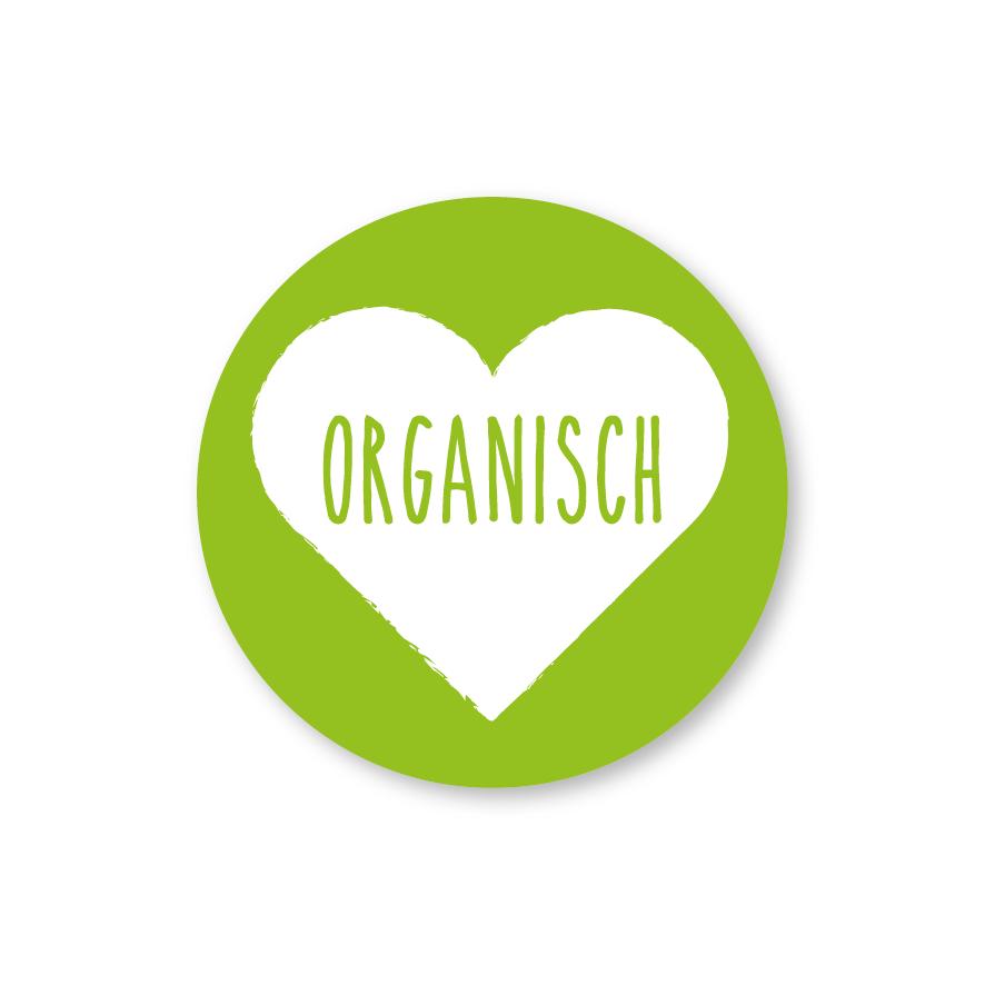 Stickers 'Organisch' hartje lichtgroen-wit rond 30mm