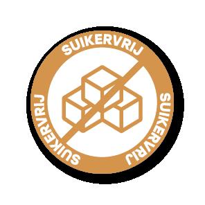 Stickers 'Suikervrij' lichtbruin-oranje 30mm