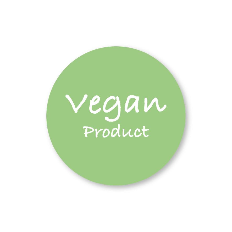 Stickers 'Vegan Product' lichtgroen-wit rond 30mm
