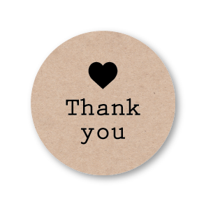 Thank you stickers karton-zwart rond 30mm