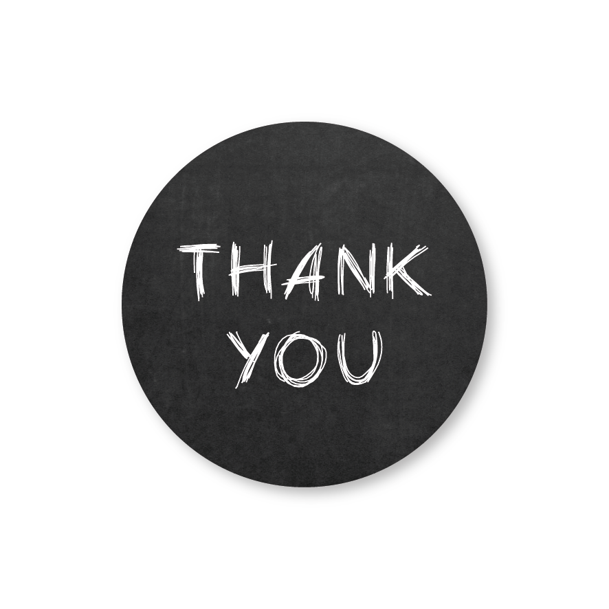 Thank you stickers krijtbord-wit rond 30mm