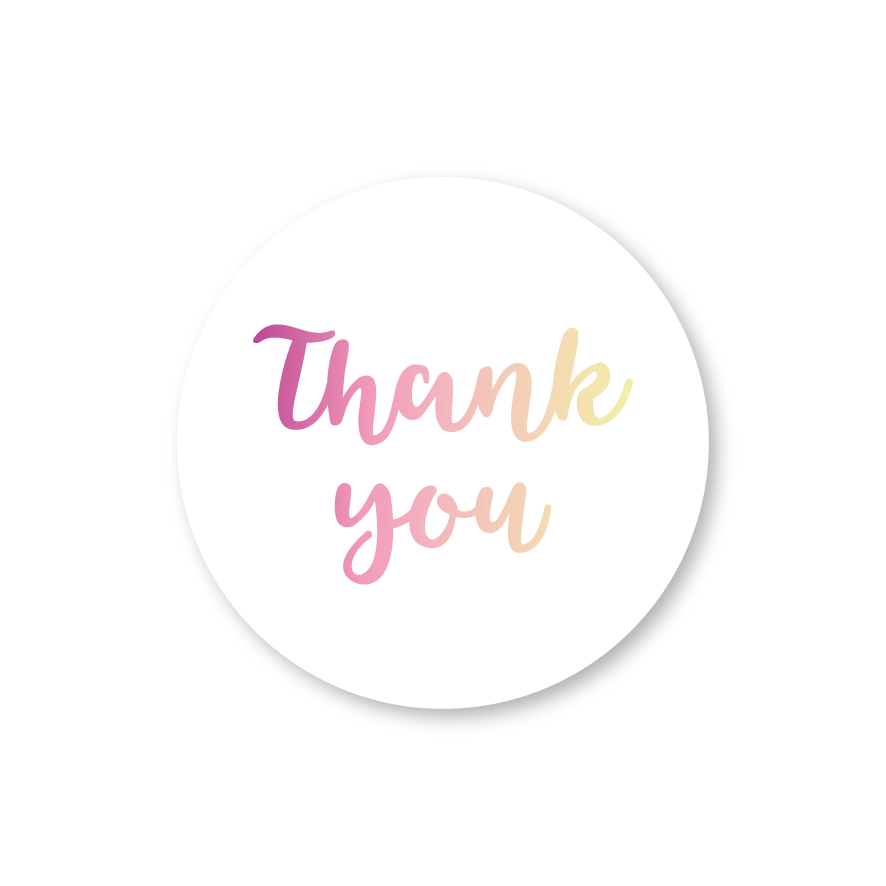 Thank you stickers wit-donkerpaars-lichtgeel rond 30mm