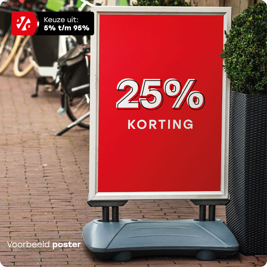 Voorbeeld 'Korting' poster stoepbord