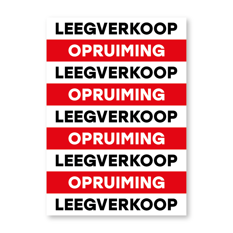 Leegverkoop opruiming poster