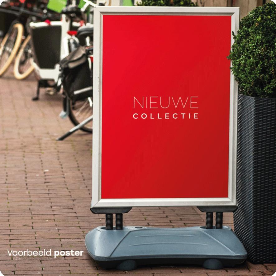 Voorbeeld 'Nieuwe Collectie' poster stoepbord