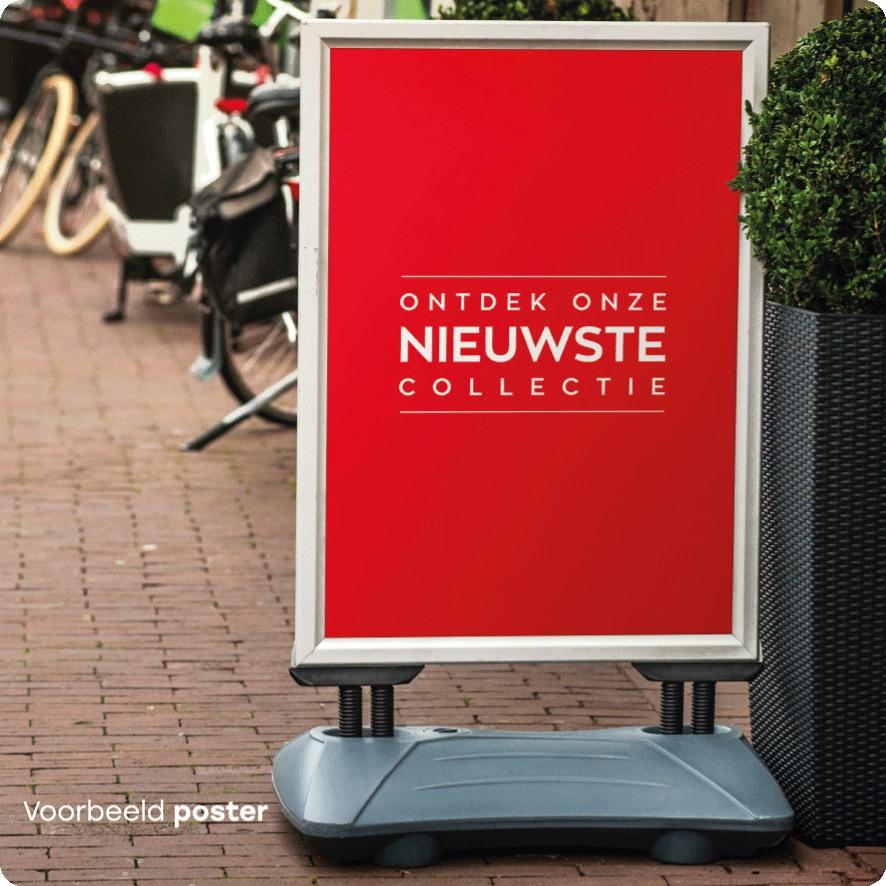 Voorbeeld 'Ontdek onze nieuwste collectie' poster stoepbord