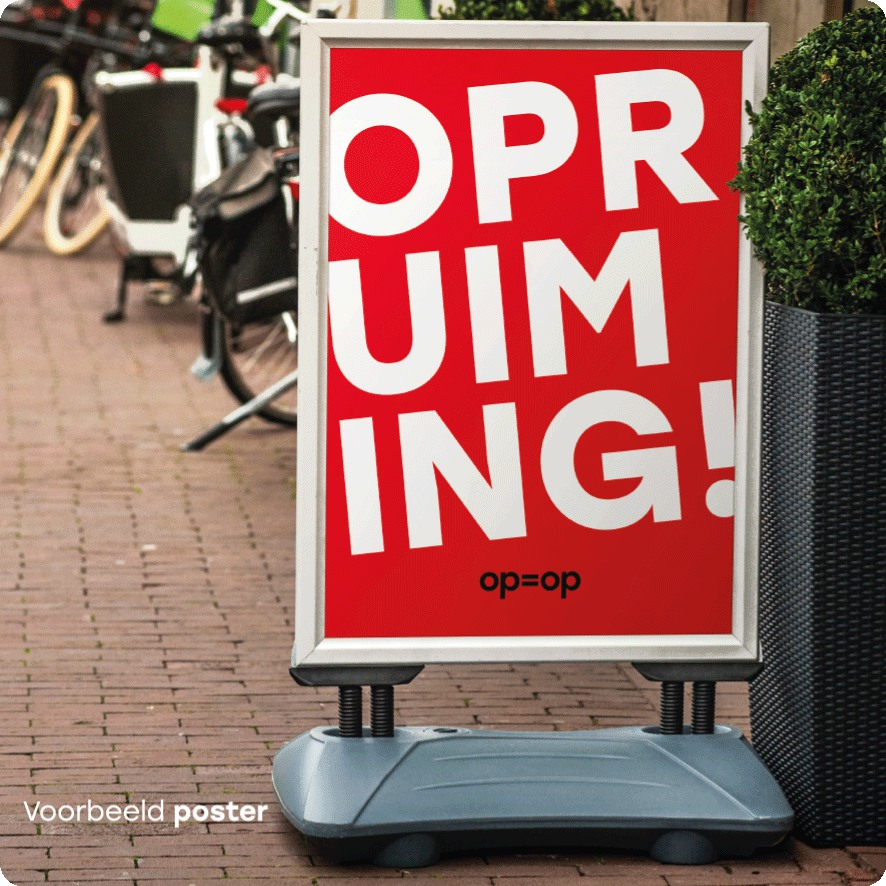 Voorbeeld 'Opruiming' poster stoepbord