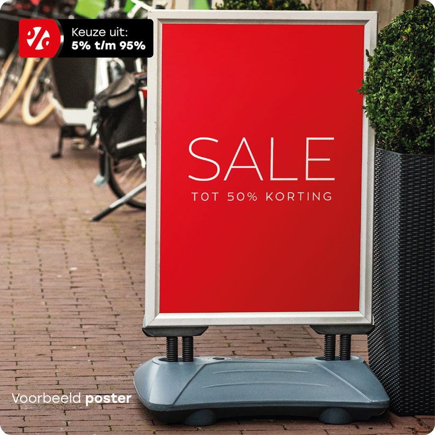 Voorbeeld 'Sale Korting' poster stoepbord