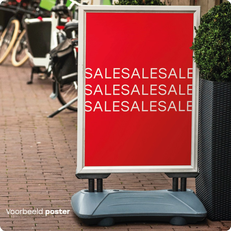 Voorbeeld 'Sale' poster stoepbord
