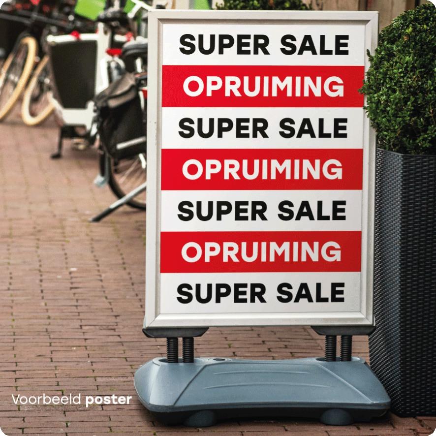 Voorbeeld 'Super Sale' opruiming poster stoepbord