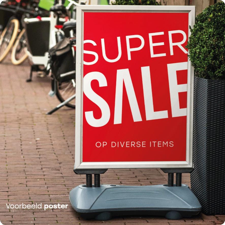 Voorbeeld 'Super Sale' poster stoepbord