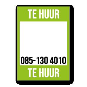 Te Huur poster lichtgroen gepersonaliseerd met eigen telefoonnummer