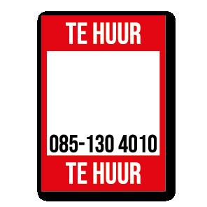 Te Huur poster rood gepersonaliseerd met eigen telefoonnummer