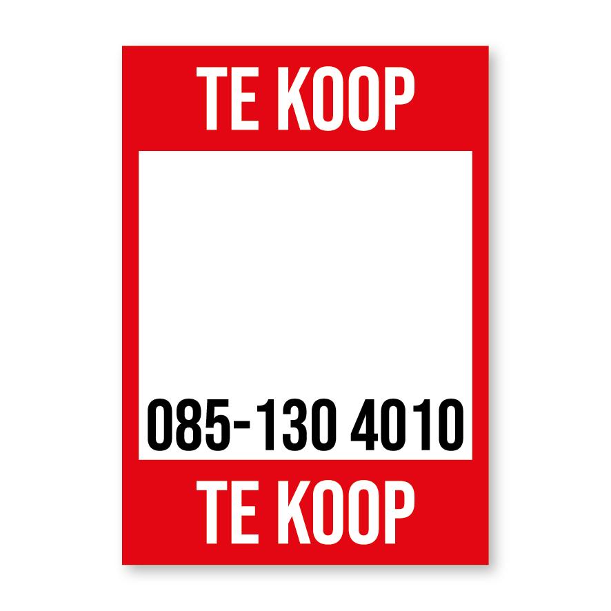 Te Koop poster rood gepersonaliseerd met eigen telefoonnummer