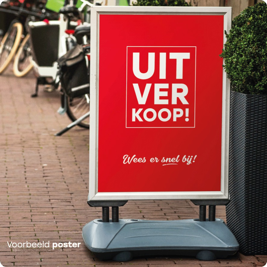 Voorbeeld 'Uitverkoop' poster stoepboard