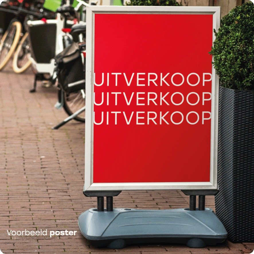 Voorbeeld 'Uitverkoop' poster stoepbord