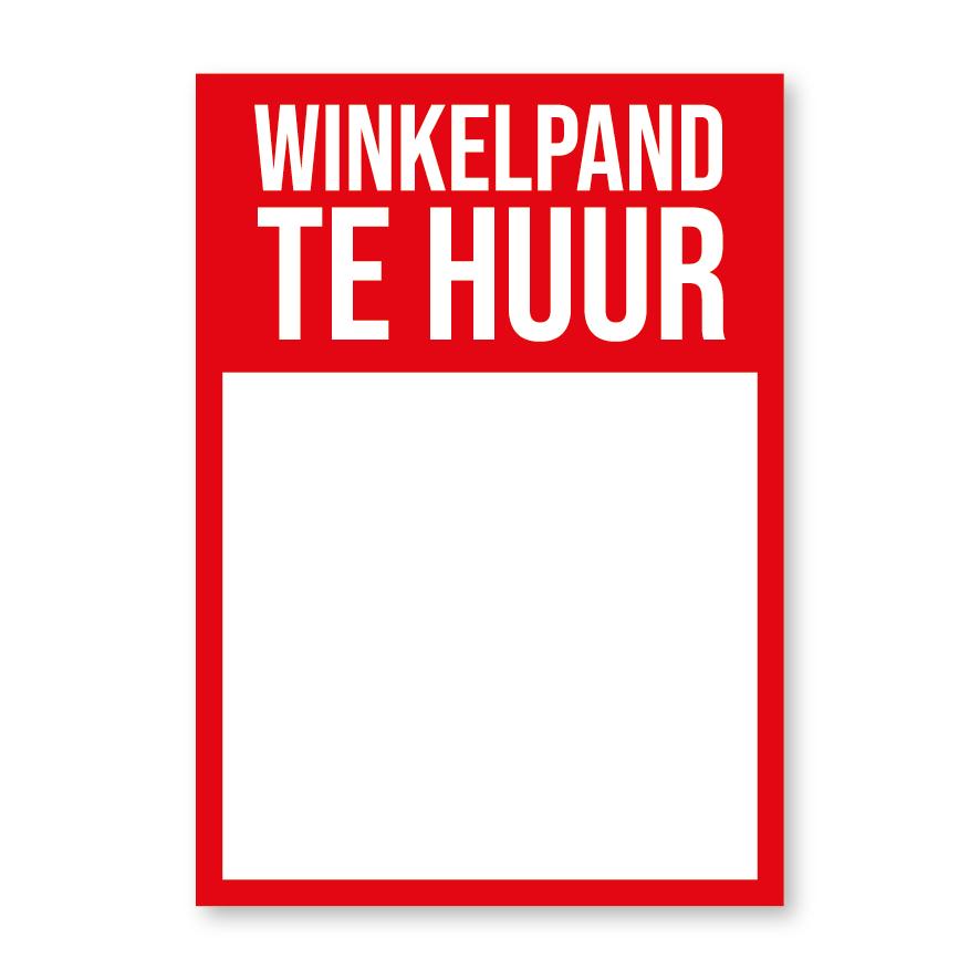 Winkelpand Te Huur poster rood