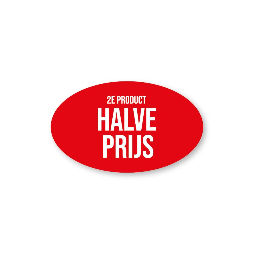 2e product halve prijs raamsticker rood-wit ovaal